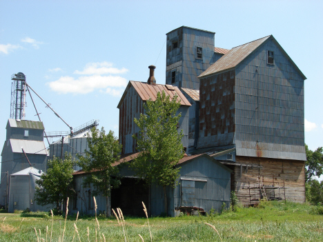 Old and New Grain Elevators, Marietta Minnesota, 2010