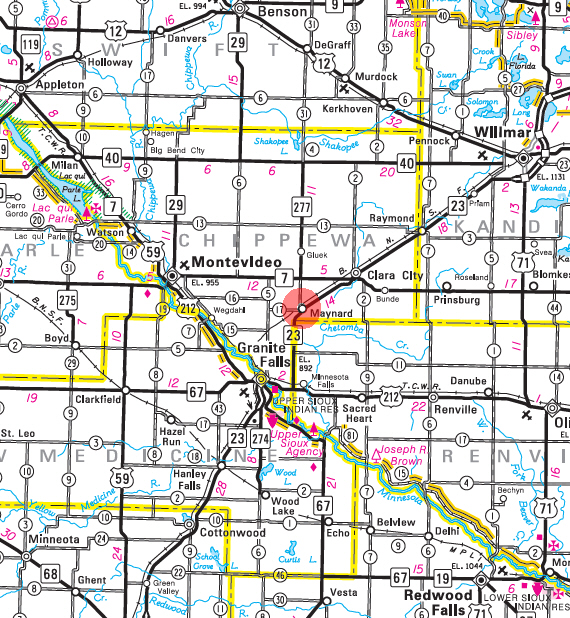 Minnesota State Highway Map of the Maynard Minnesota area