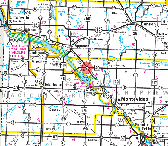 Minnesota State Highway Map of the Milan Minnesota area