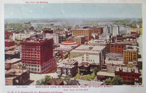 Birds eye view of Minneapolis west of Fourth Street, 1905