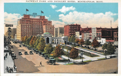 Gateway Park and Nicollet Hotel, Minneapolis Minnesota, 1920's