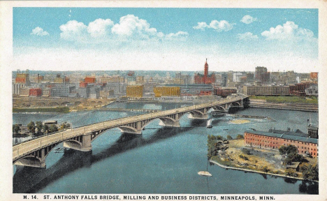 St. Anthony Falls Bridge, Milling and Business Districts, Minneapolis Minnesota, 1920's