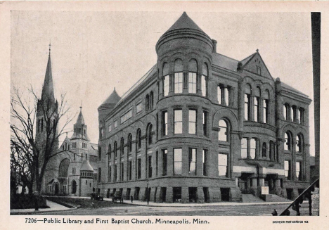 Public Library and First Baptist Church, Minneapolis Minnesota. 1907