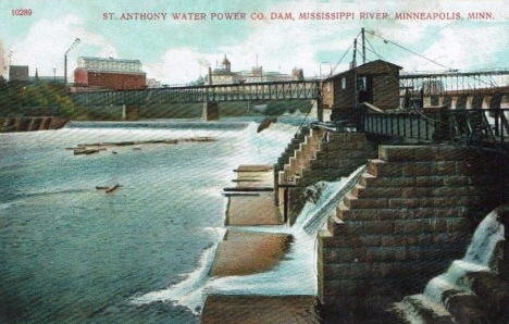 St. Anthony Water Power Company Dam, Mississippi River, Minneapolis Minnesota, 1910