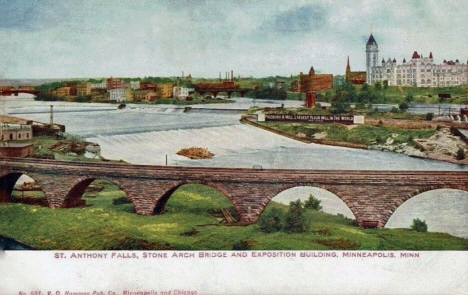St. Anthony Falls, Stone Arch Bridge and Exposition Hall, Minneapolis Minnesota, 1911