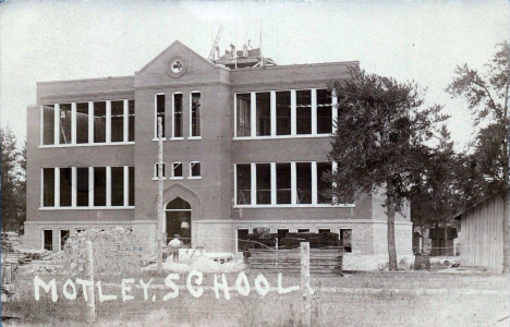 School under construction, Motley Minnesota, 1909