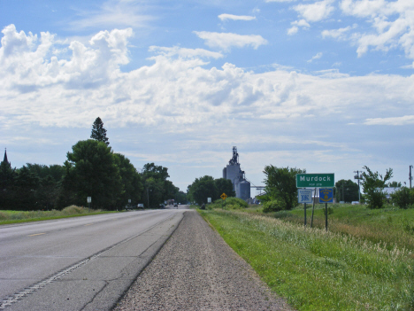 City limits and population sign, Murdock Minnesota, 2014