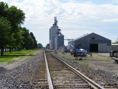 Railroad tracks and grain elevator, Murdock Minesota, 2014