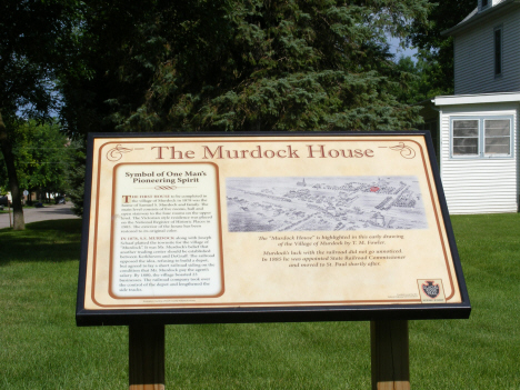 Marker in fromnt of the Samual Murdock House, Murdock Minnesota, 2014