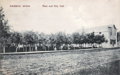 Park and City Hall, Nassau Minnesota, 1914