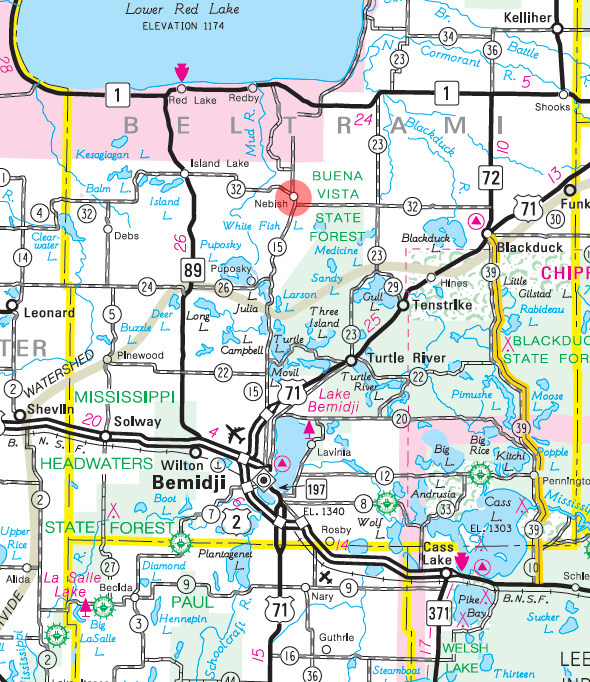 Minnesota State Highway Map of the Nebish Minnesota area
