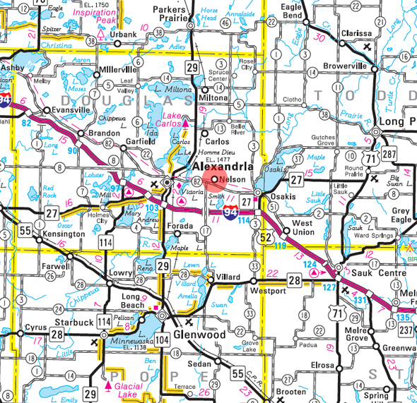 Minnesota State Highway Map of the Nelson Minnesota area