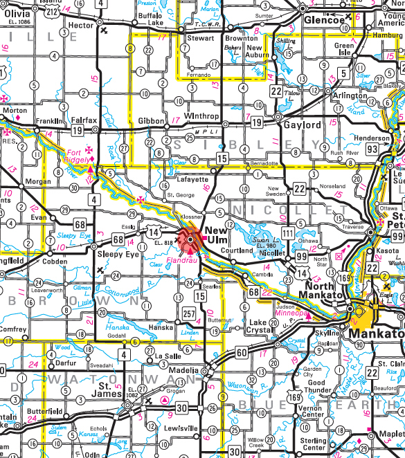 Minnesota State Highway Map of the New Ulm Minnesota area