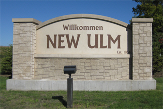 Welcome sign, New Ulm Minnesota