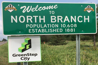 Welcome sign, North Branch Minnesota