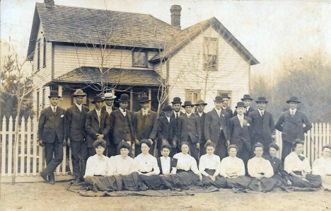 People in front of house, Odessa Minnesota, 1908