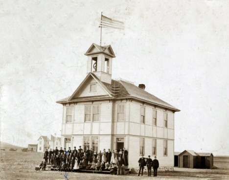 Public school and students, Odessa Minnesota, 1908