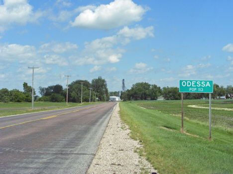 City limits and population sign, Odessa Minnesota, 2014