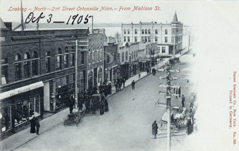 Looking north on 2nd Street from Madison Street, Ortonville Minnesota, 1905