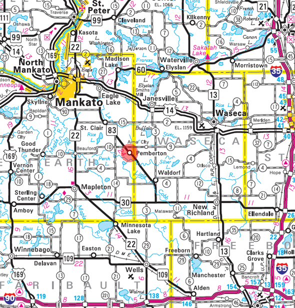 Minnesota State Highway Map of the Pemberton Minnesota area