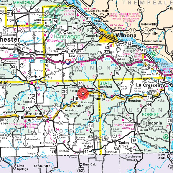 Minnesota State Highway Map of the Peterson Minnesota area