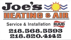 Joe's Heating & Air, Pine River Minnesota