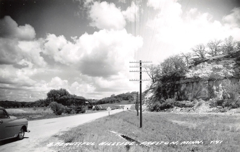 Hillside and bridge, Preston Minnesota, 1950's