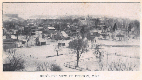 Birds eye view of Preston Minnesota, 1907