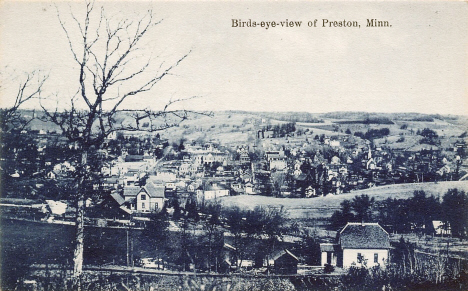 Birds eye view of Preston Minnesota, 1908