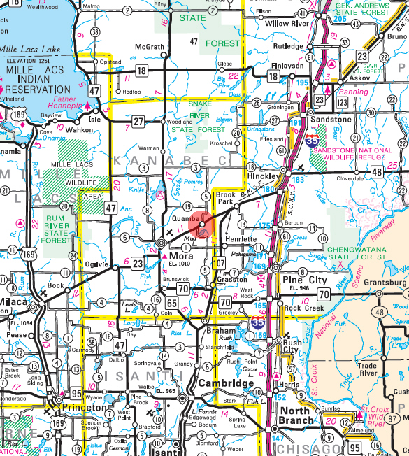 Minnesota State Highway Map of the Quamba Minnesota area