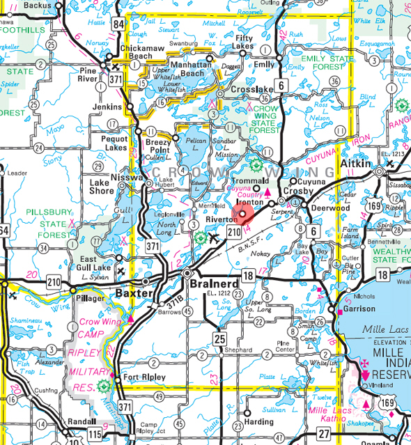 Minnesota State Highway Map of the Riverton Minnesota area