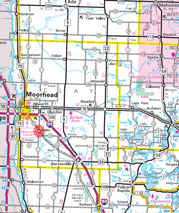 Minnesota State Highway Map of the Sabin Minnesota area