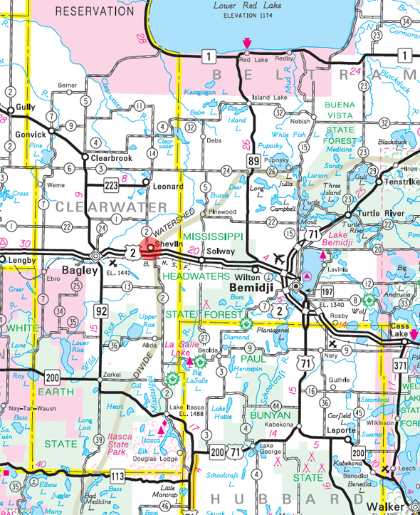 Minnesota State Highway Map of the Shevlin Minnesota area