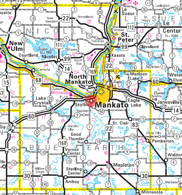 Minnesota State Highway Map of the Skyline Minnesota area