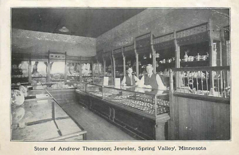 Store of Andrew Thompson, Jeweler, Spring Valley Minnesota, 1908