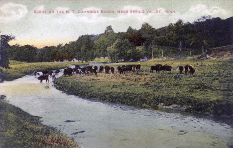 Scene on the N. T. Cummings Ranch near Spring Valley Minnesota, 1910