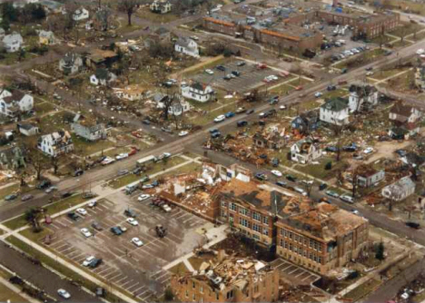 Aerial view of St. Peter after 1998 tornado