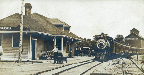 Railroad Depot and Farmers Elevator, St. Peter Minnesota, 1905