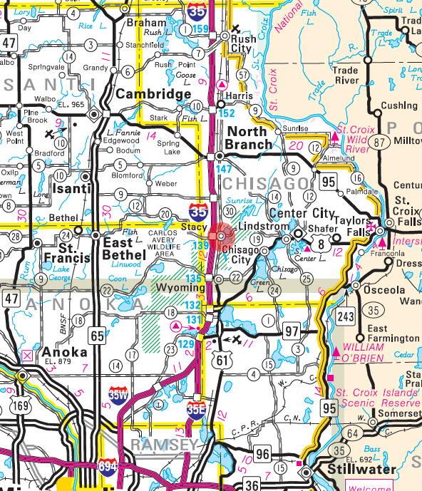 Minnesota State Highway Map of the Stacy Minnesota area