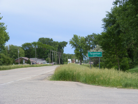 City limits and population sign, Taunton Minnesota, 2011
