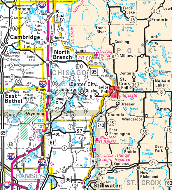 Minnesota State Highway Map of the Taylors Falls Minnesota area
