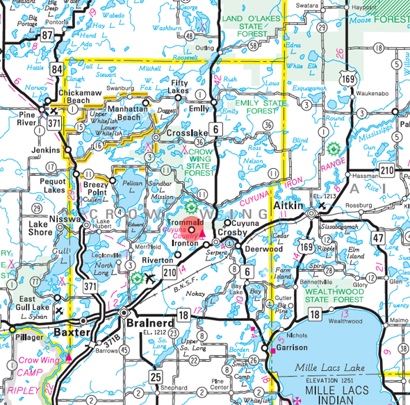Minnesota State Highway Map of the Trommald Minnesota area