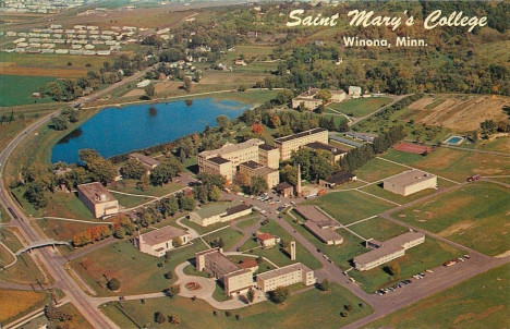 Aerial view of St. Mary's College, Winona Minnesota, 1960's