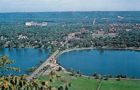 View of Winona Minnesota from Garvin Heights, 1970's