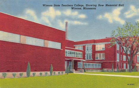 Memorial Hall at Winona State Teachers College, Winona Minnesota, 1955