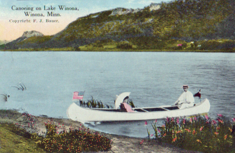 Canoing on Lake Winona, Winona Minnesota, 1910's