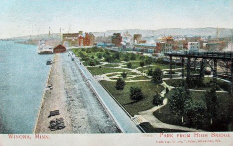 Riverside Park from High Bridge, Winona Minnesota, 1907