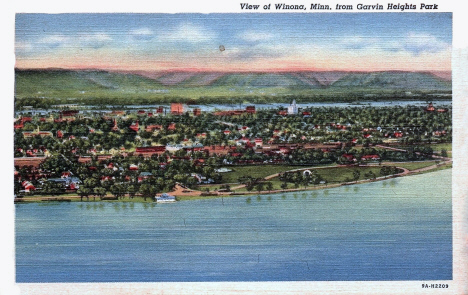 View of Winona Minnesota from Garvin Heights Park, 1939