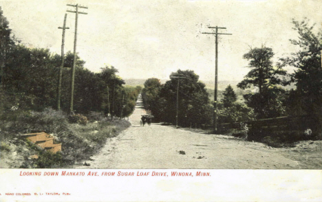Looking down Mankato Avenue from Sugar Loaf Drive, Winona Minnesota, 1907