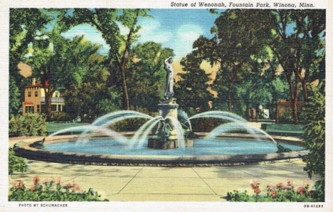 Statue of Wenonah, Fountain Park Park, Winona Minnesota, 1940